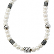 Sterling Silver/14Ky Pearl, Silver, Diamond, Gold Bead Necklace