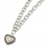 Silver & 14Ky 0.15Ctw Diamond Necklace