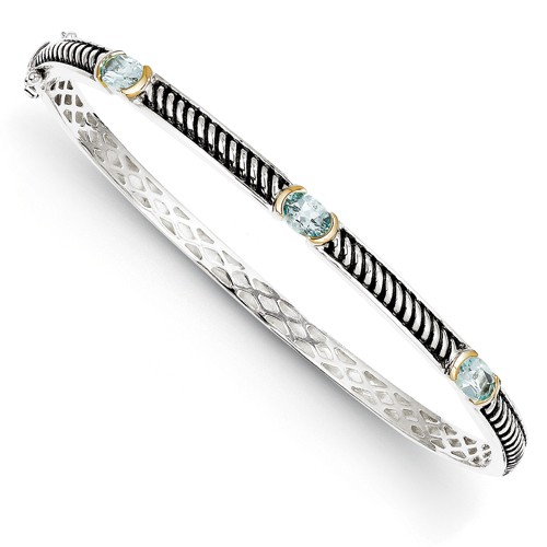 Sterling Silver/14Ky Oxidized Sky Blue Topaz Bangle Bracelet. Price: $220.18