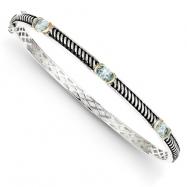 Sterling Silver/14Ky Oxidized Sky Blue Topaz Bangle Bracelet
