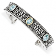 Sterling Silver/14Ky Oxidized Sky Blue Topaz Bangle