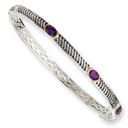 Sterling Silver/14Ky Oxidized Amy Bangle Bracelet