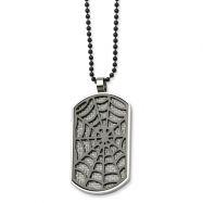 Stainless Steel Grey Carbon Fiber Spider Web Dog Tag 24in Necklac chain