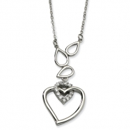 Stainless Steel Polished Teardrops & Heart w/ CZ Heart 18w/1in ext Necklace chain