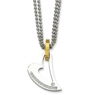 Stainless Steel IPG 24k Plating Circle & Heart w/CZs 22in Necklace chain
