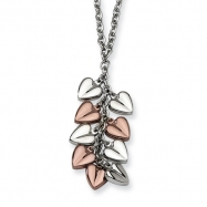 Stainless Steel Polished & Chocolate Plated Hearts 22in Necklace chain