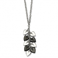Stainless Steel Polished & Black-plated Hearts 22in Necklace chain
