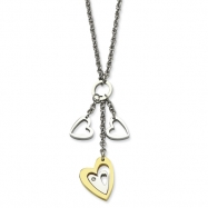 Stainless Steel IPG 24k Plating Heart w/ Polished Hearts w/CZ 22in Necklace chain