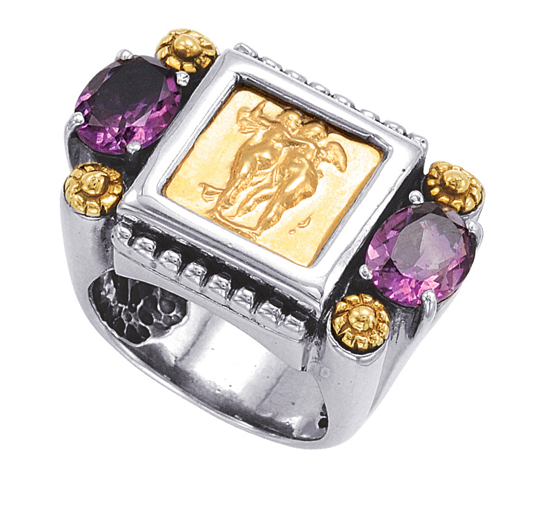 Alesandro Menegati 14K Accented Sterling Silver Ring with Amethysts. Price: $528.00