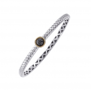 Alesandro Menegati 18K Accented Sterling Silver Bangle with Black Diamonds