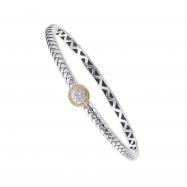 Alesandro Menegati 18K Accented Sterling Silver Bangle with Diamonds