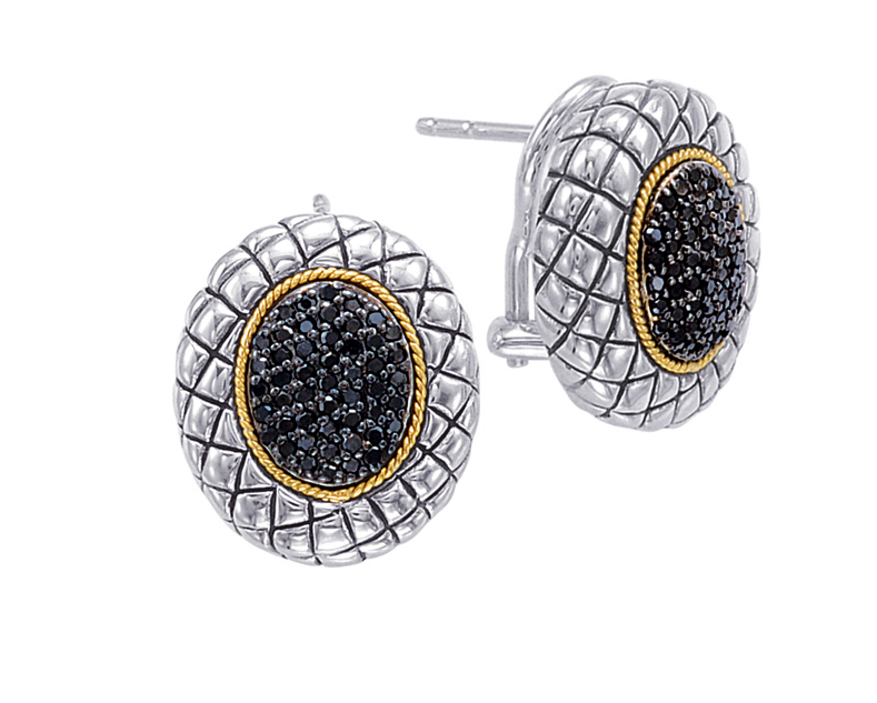 Alesandro Menegati 18K Accented Sterling Silver Earrings with Black Diamonds. Price: $594.00