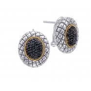 Alesandro Menegati 18K Accented Sterling Silver Earrings with Black Diamonds