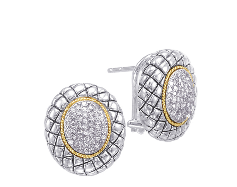 Alesandro Menegati 18K Accented Sterling Silver Earrings with Diamonds. Price: $594.00