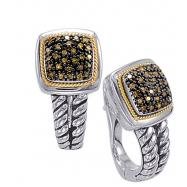 Alesandro Menegati 18K Accented Sterling Silver Earrings with Black Diamonds