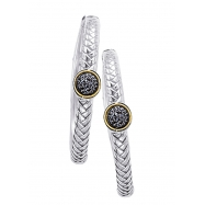 Alesandro Menegati 18K Accented Sterling Silver Earrings with Black and White Diamonds