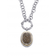 Alesandro Menegati 18K Accented Sterling Silver Necklace with Brown Diamonds