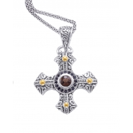 Alesandro Menegati 18K Accented Sterling Cross Necklace with Smoky Quartz