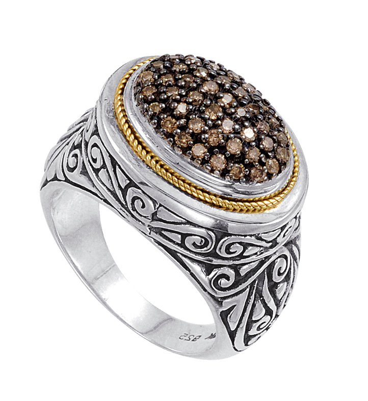 Alesandro Menegati 18K Accented Sterling Silver Ring with Brown Diamonds. Price: $653.40