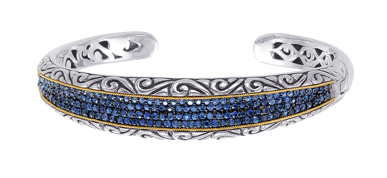 Alesandro Menegati 18K Accented Sterling Silver Bangle with Blue Sapphires. Price: $1262.80