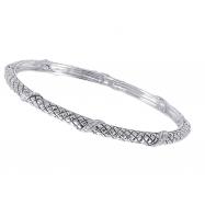 Alesandro Menegati Sterling Silver Designer Fashion Bangle with Diamonds