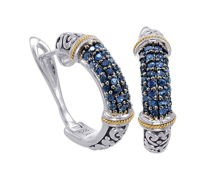 Alesandro Menegati 18K Accented Sterling Silver Earrings with Blue Sapphires. Price: $514.80