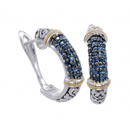 Alesandro Menegati 18K Accented Sterling Silver Earrings with Blue Sapphires