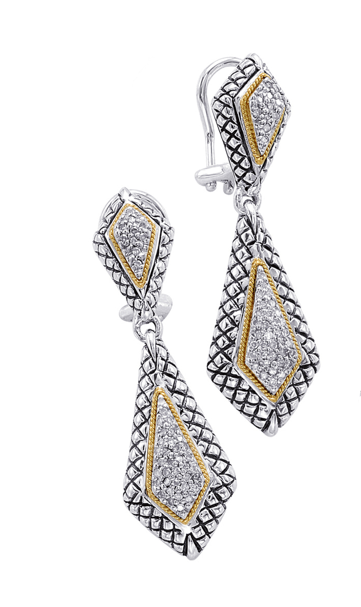 Alesandro Menegati 18K Accented Sterling Silver Earrings with Diamonds. Price: $618.20