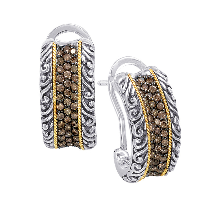 Alesandro Menegati 18K Accented Sterling Silver Earrings with Brown Diamonds. Price: $963.60