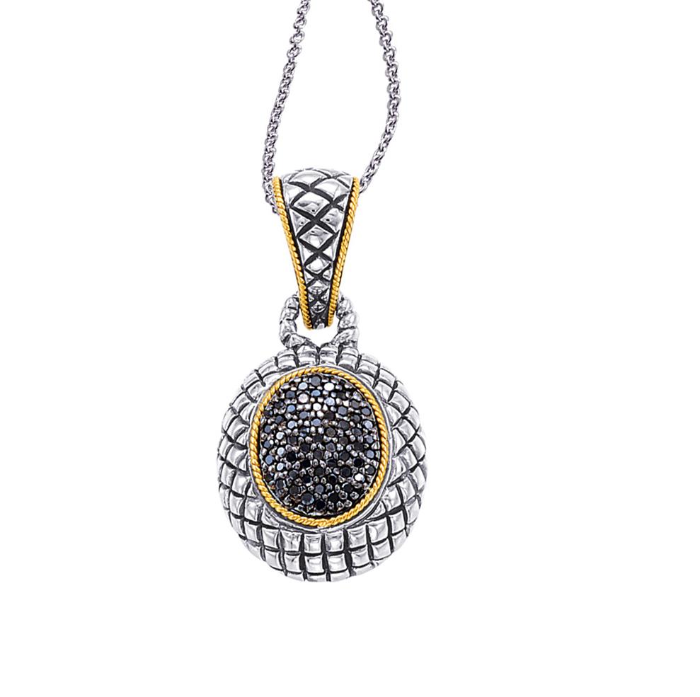 Alesandro Menegati 18K Accented Sterling Silver Necklace with Black Diamonds. Price: $473.00