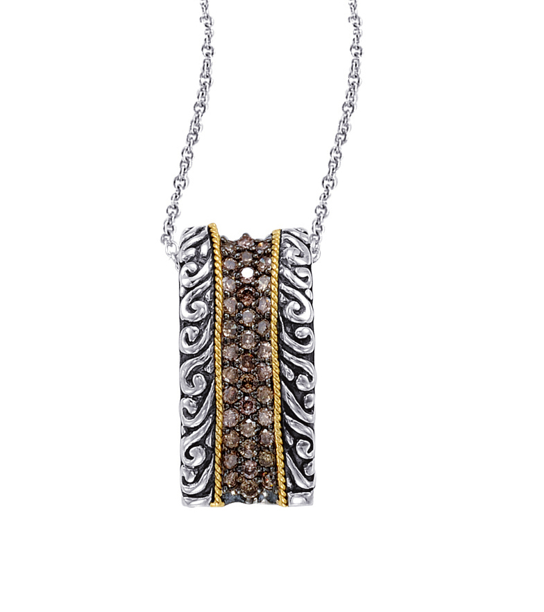Alesandro Menegati 18K Accented Sterling Silver Necklace with Brown Diamonds. Price: $521.40
