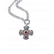 Alesandro Menegati 18K Accented Sterling Silver Multi Gemstones Necklace