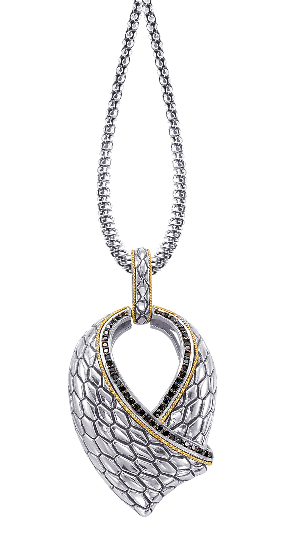 Alesandro Menegati 18K Accented Sterling Silver Necklace with Black Diamonds. Price: $563.20