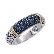 Alesandro Menegati 18K Accented Sterling Silver Ring with Blue Sapphires