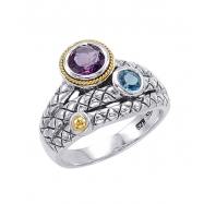 Alesandro Menegati 18K Accented Sterling Silver Ring with Amethyst and Blue Topaz