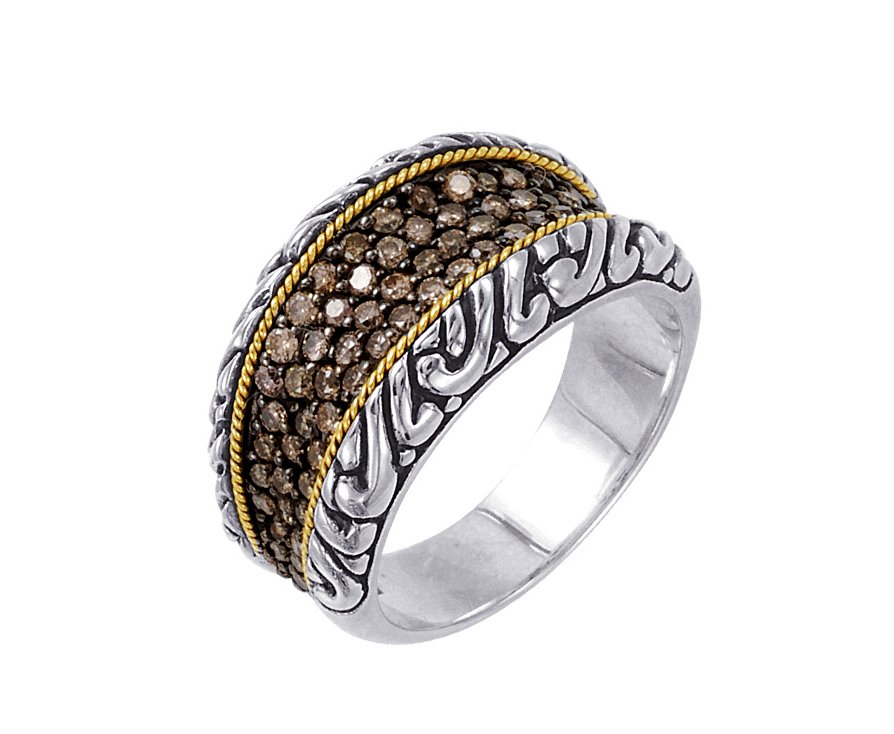 Alesandro Menegati 18K Accented Sterling Silver Ring with Brown Diamonds. Price: $873.40