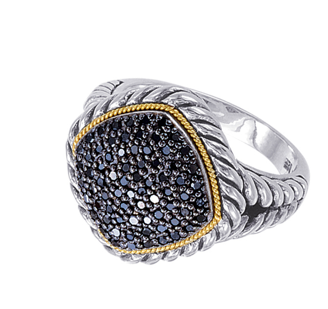Alesandro Menegati 18K Accented Sterling Silver Ring with Black Diamonds. Price: $455.40