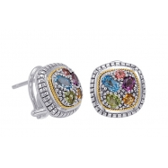 Alesandro Menegati 18K Accented Sterling Silver Multi Gemstones Earrings