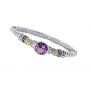 Alesandro Menegati 14K Accented Sterling Silver Bangle with White and Blue Topaz and Amethyst
