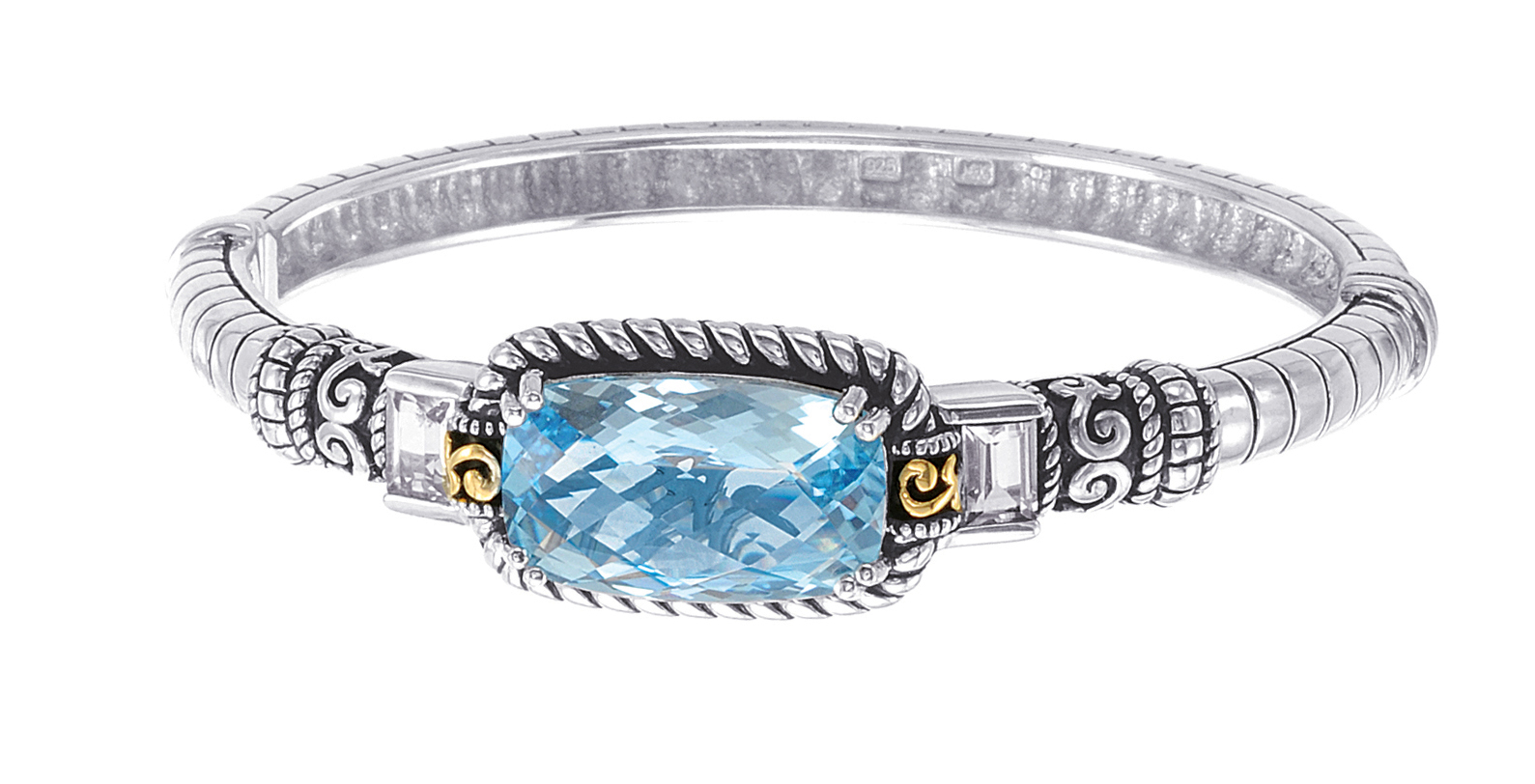 Alesandro Menegati 14K Accented Sterling Silver Bangle with Blue and White Topaz. Price: $627.00