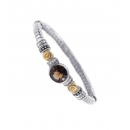Alesandro Menegati 14K Accented Sterling Silver Bangle with Blue and White Topaz, Smoky Quartz and C