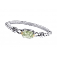 Alesandro Menegati 14K Accented Sterling Silver Green Amethyst and Diamonds Bangle