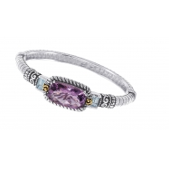 Alesandro Menegati 14K Accented Sterling Silver Bangle with Blue Topaz and Amethyst