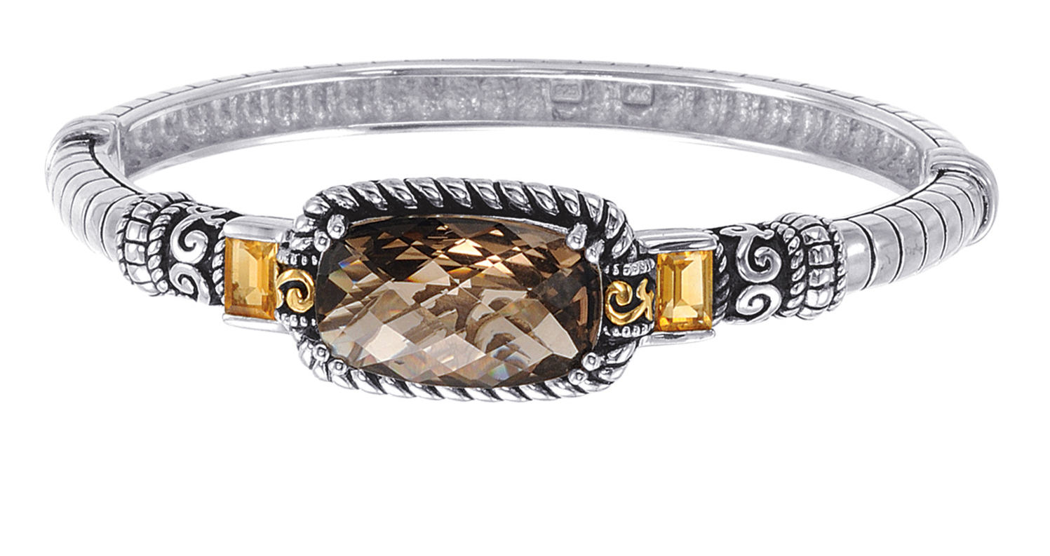 Alesandro Menegati 14K Accented Sterling Silver Bangle with Smoky Quartz and Citrines. Price: $418.00