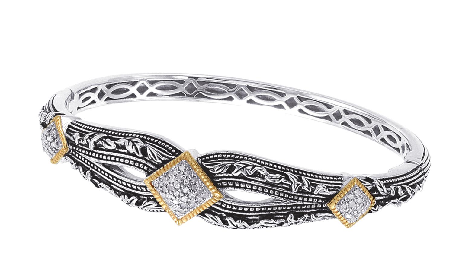 Alesandro Menegati 18K Accented Sterling Silver Bangle with Diamonds. Price: $627.00