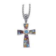 Alesandro Menegati 18K Accented Sterling Silver Multi Gemstones Cross Necklace