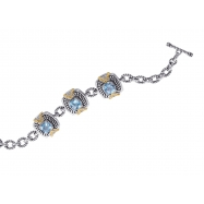 Alesandro Menegati 14K Accented Sterling Silver Bracelet with Blue and White Topaz