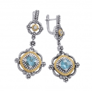 Alesandro Menegati 14K Accented Sterling Silver Earrings with Blue Topaz and Diamonds