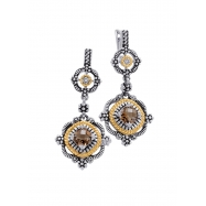 Alesandro Menegati 14K Accented Sterling Silver Earrings with Smoky Quartz and Diamonds