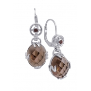 Alesandro Menegati Sterling Silver Earrings with Smoky Quartz and Garnet